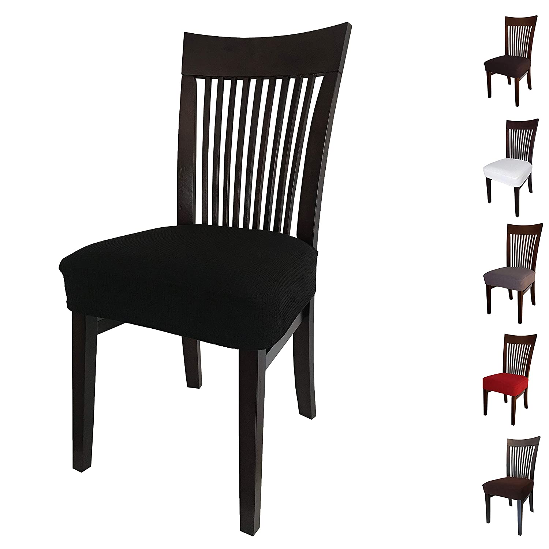 Jacalee ストレッチスパンデックスジャカードダイニングルーム椅子シートカバー 取り外し可能 洗濯可能 防塵 ブラック 人気海外一番 2ブラック 公式 B07L1P4JZQ スリップカバー ダイニング内装椅子シートクッション