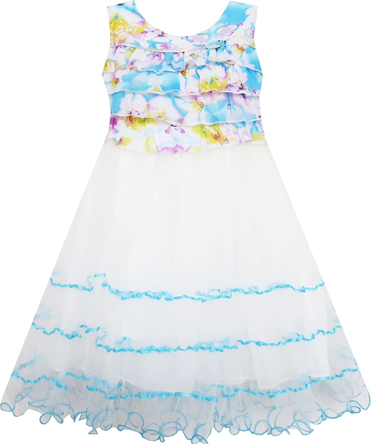 Sunny Fashion Girls Dress Sleeveless Pleated Bodice Lace Tiered Skirt Blue