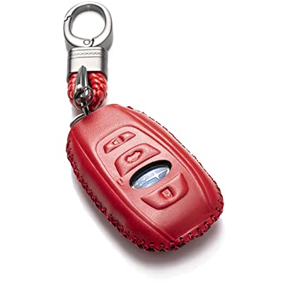 Vitodeco Leather Keyless Remote Smart Key Fob Case Cover with a Key Chain for 2020-2020 Subaru Forester, Impreza, Outback, WRX, BRZ, XV Crosstrek (4-Button, Red): Automotive