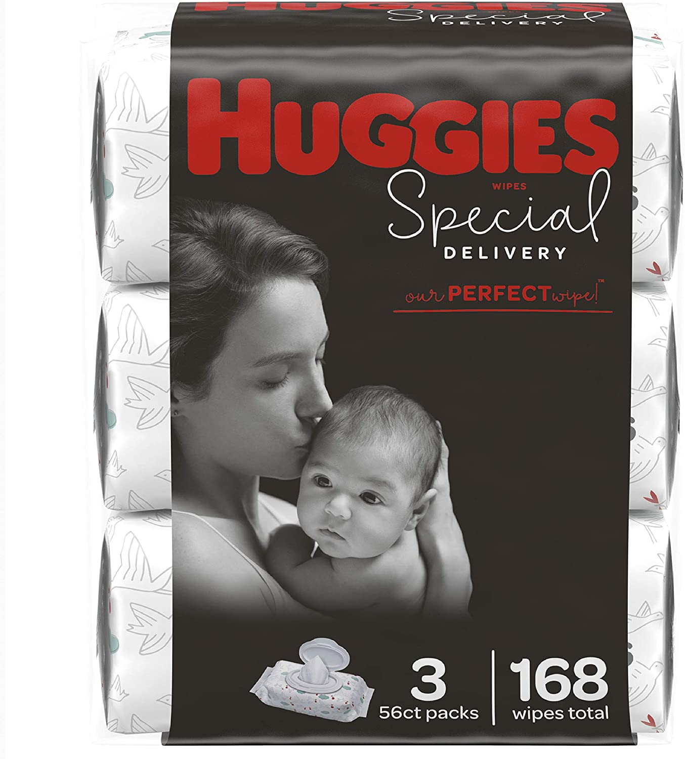 Huggies Special Delivery Hypoallergenic Baby Wipes, Unscented, 3 Flip-Top Packs of 56 Wipes Each, (168 Wipes Total)