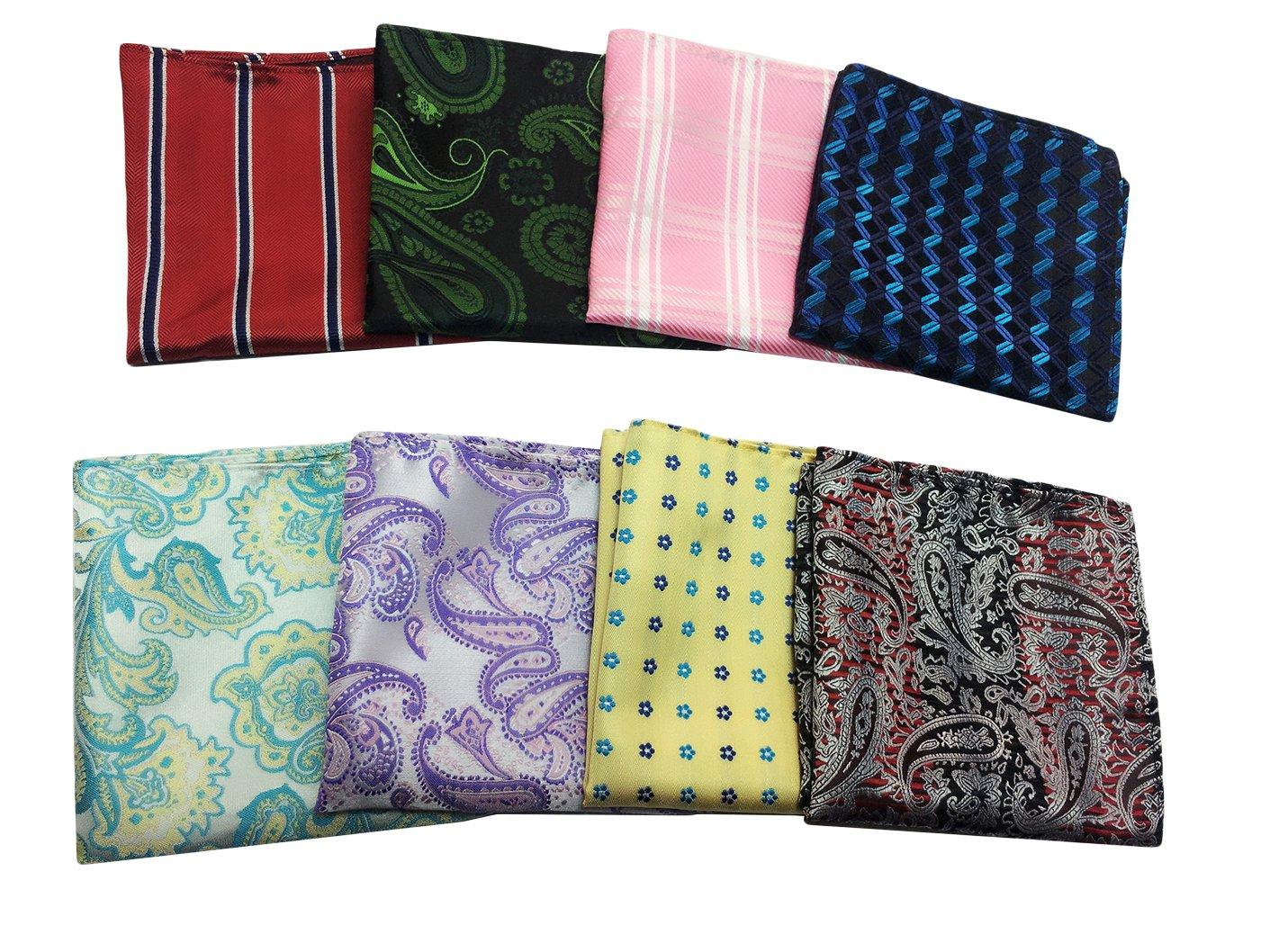 MENDENG 8 Pack Mixed Paisley Floral Pocket Square Wedding Men Handkerchief