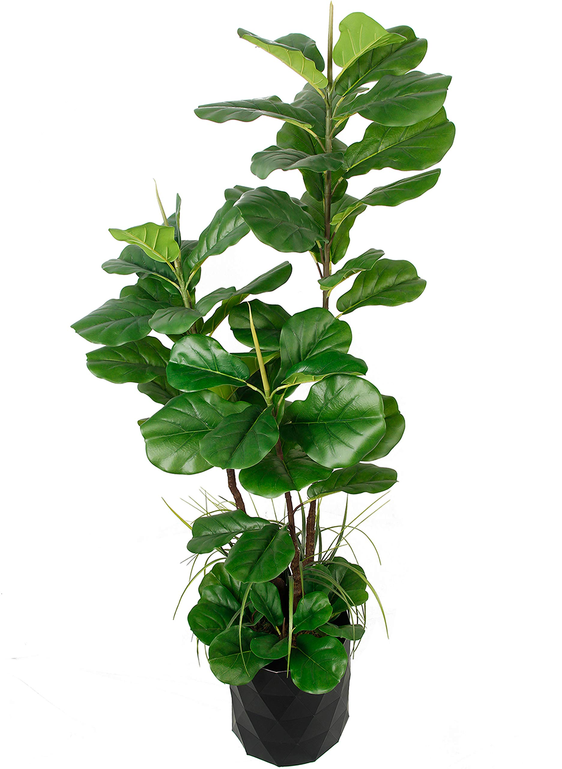 """Deluxe 66"""" Premium Fiddle Leaf FIG Artificial Tree + Fiddle Leaf and Tropical Grass Foliage in 8"""" Base + 12"""" Plant Pot Skirt."""