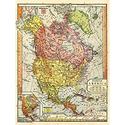 Map Of Time Zones Canada And Usa.Amazon Com Wee Blue Coo Map Antique 1885 North America Time Zone