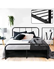 Coavas Double Bed Frame 4ft 6 Solid Bed Frame with 2 Headboard Metal Bed Frame Black fit 135 * 190 Matress For Adults, Teenagers