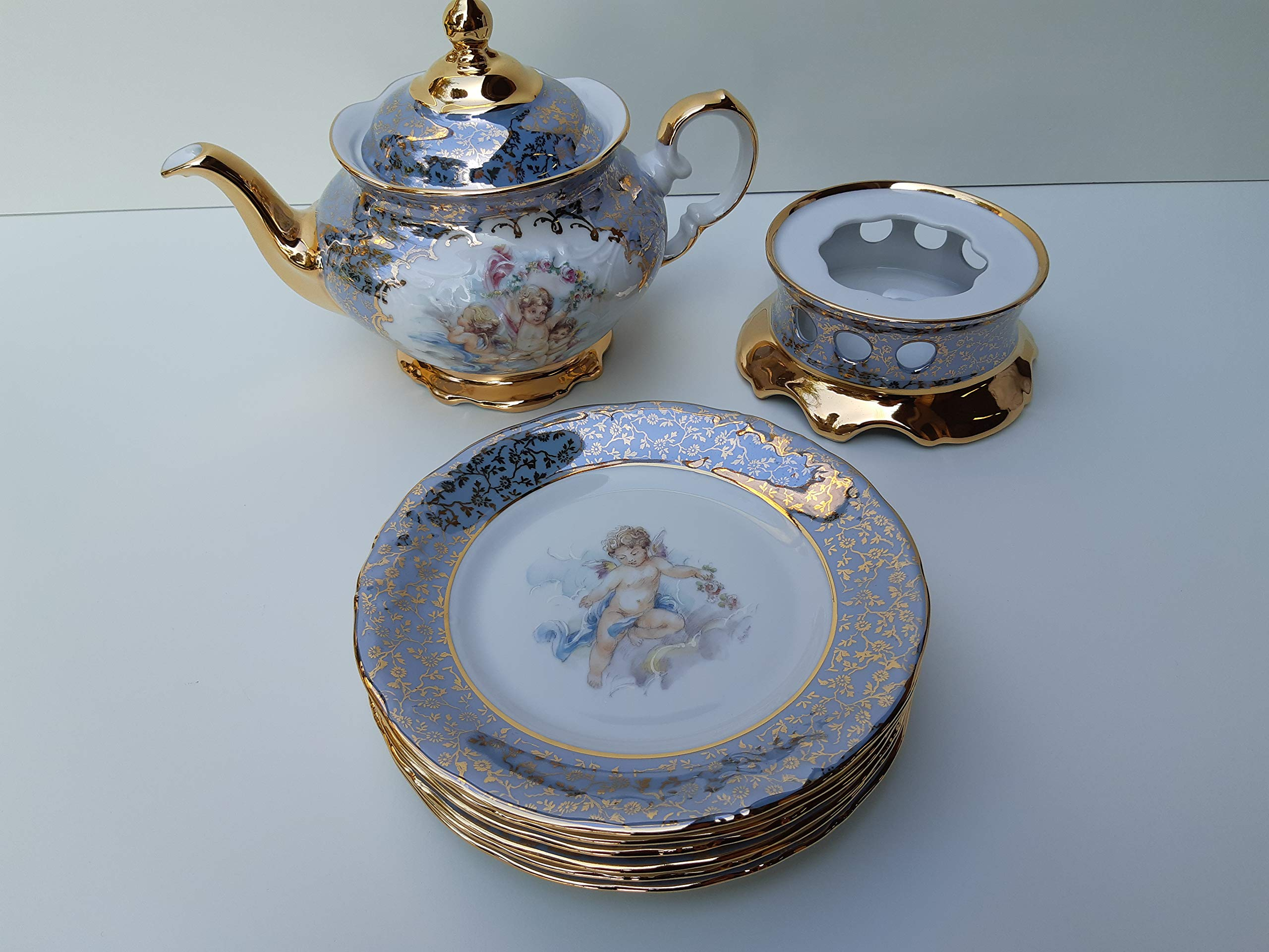 Tea pot warmer and set 06 cake plates light blue angel with gold