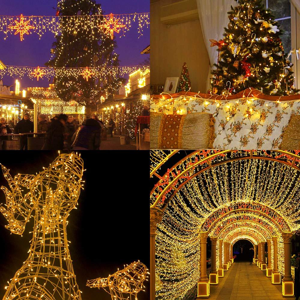 Luz Navidad Exterior,GlobaLink Guirnalda Luces Exterior 50M 2000LEDs Cadena Luces Impermeable,8 Modos Luz,Funci/ón de Memoria Enchuf para Decoraci/ón Navidad Fiesta Boda Casa Patio Jard/ín-Blanco C/álido