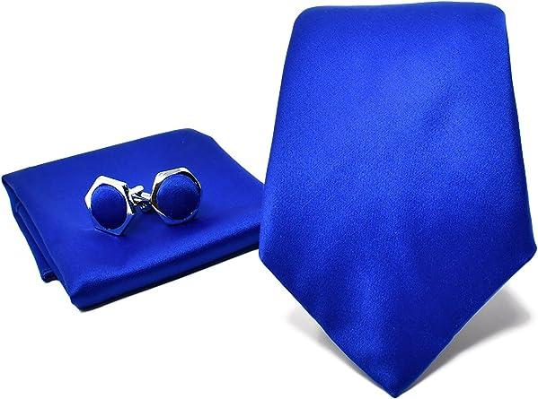 Oxford Collection Corbata de hombre, Pañuelo de Bolsillo y Gemelos Azul - 100% Seda - Clásico, Elegante y Moderno - (Caja y Conjunto de Regalo, ideal ...