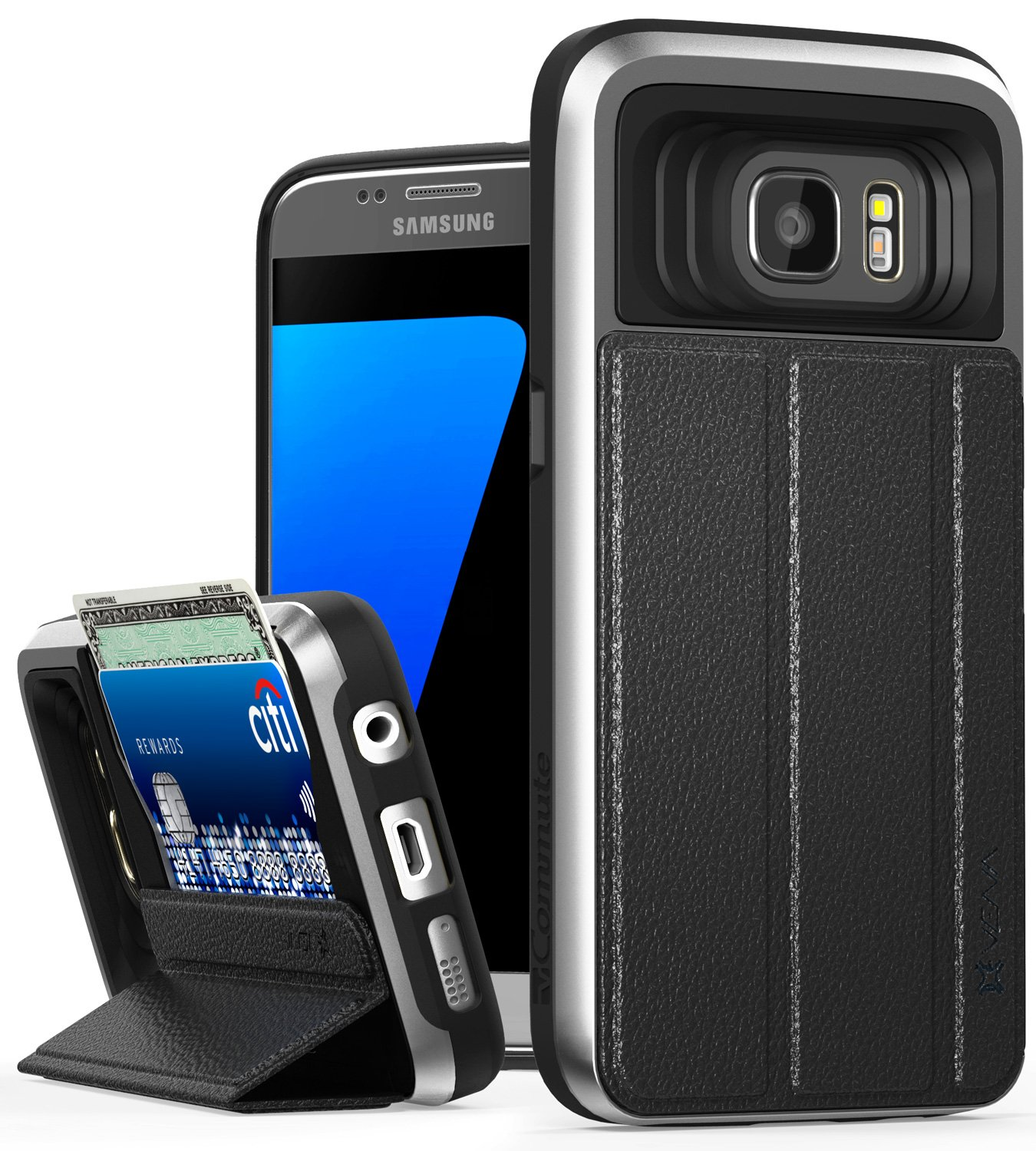 the best attitude beedc 2698c Galaxy S7 Wallet Case, Vena [vCommute][Drop Protection] Flip Leather Cover  Card Slot Holder with Kickstand for Samsung Galaxy S7 (Space Gray/Black)