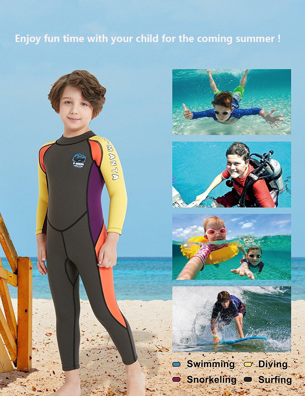 DIVE&SAIL - Ropa de Neopreno Bañador para Surf para Niños Traje de Buceo de una pieza para Natación Surf Manga Larga Protección UV Tela Elástico - Verde: ...