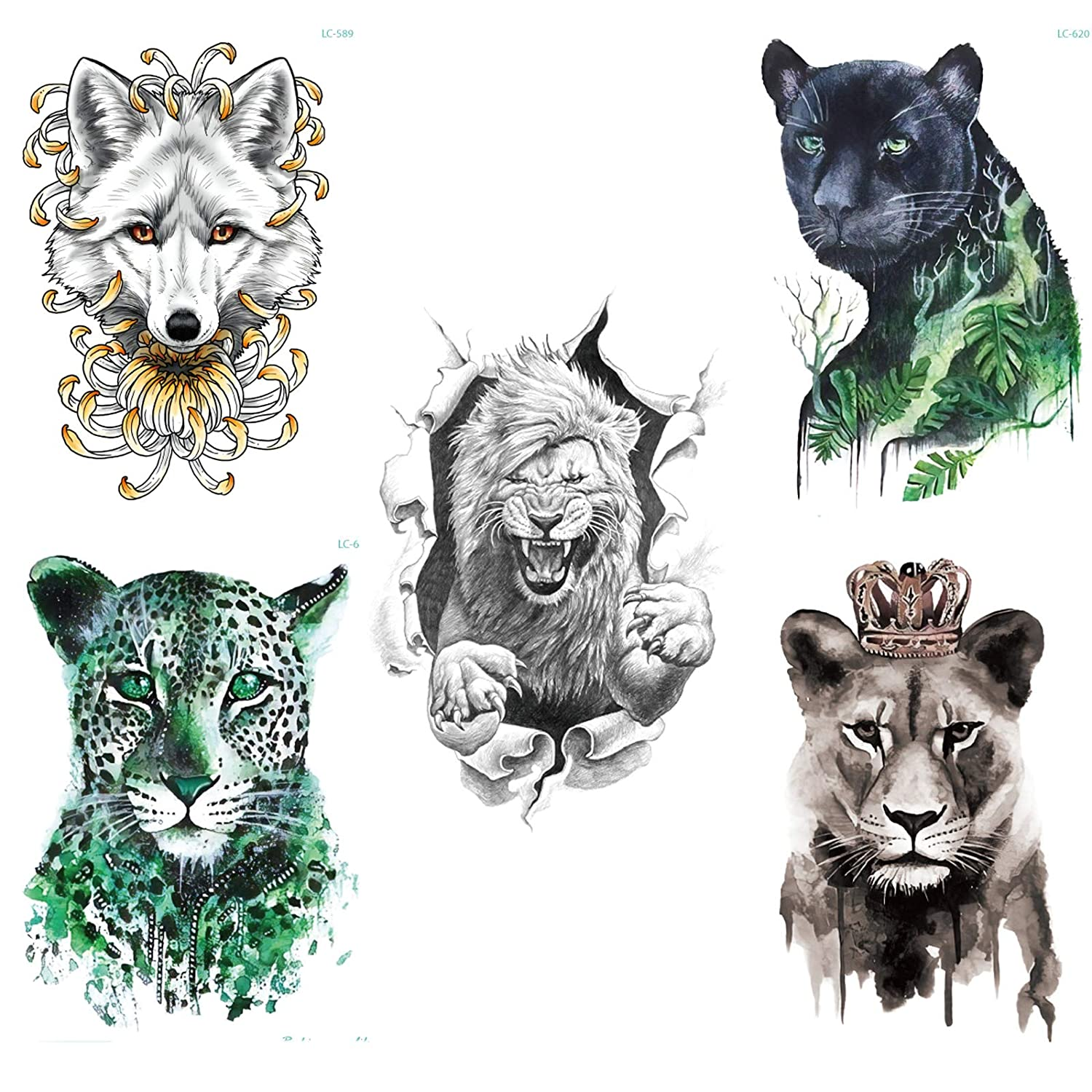 5 Sheets different designs of animal temporary fake tattoos of men and women body art waterproof cool stickers