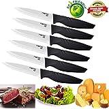 Steak Knives set of 6, Nano ID Ceramic Stake Knife Sharp Ceramic Knife Perfect Festival Present (black)