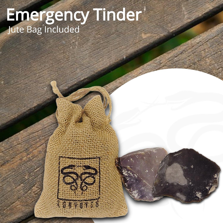 709984355c Konvoysg inglese pietra focaia per uso con una in acciaio al carbonio  Striker Tinder di emergenza viene fornito con un sacchetto di iuta:  Amazon.it: Sport e ...