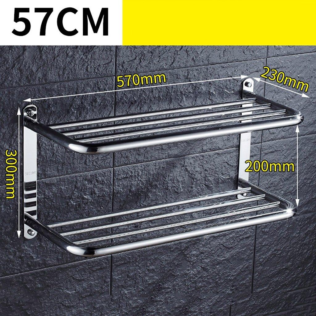 タオルバー バスルームタオルラック304ステンレススチールタオルラックバスルームのハードウェアアクセサリー2つのタオルラック (サイズ さいず : 57センチメートル) B07F26MYVY57センチメートル