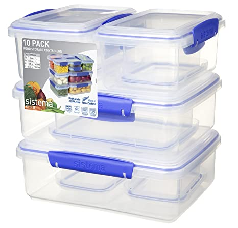 Delicieux Sistema KLIP IT Rectangular Collection Food Storage Containers, Color  Received May Vary, 10