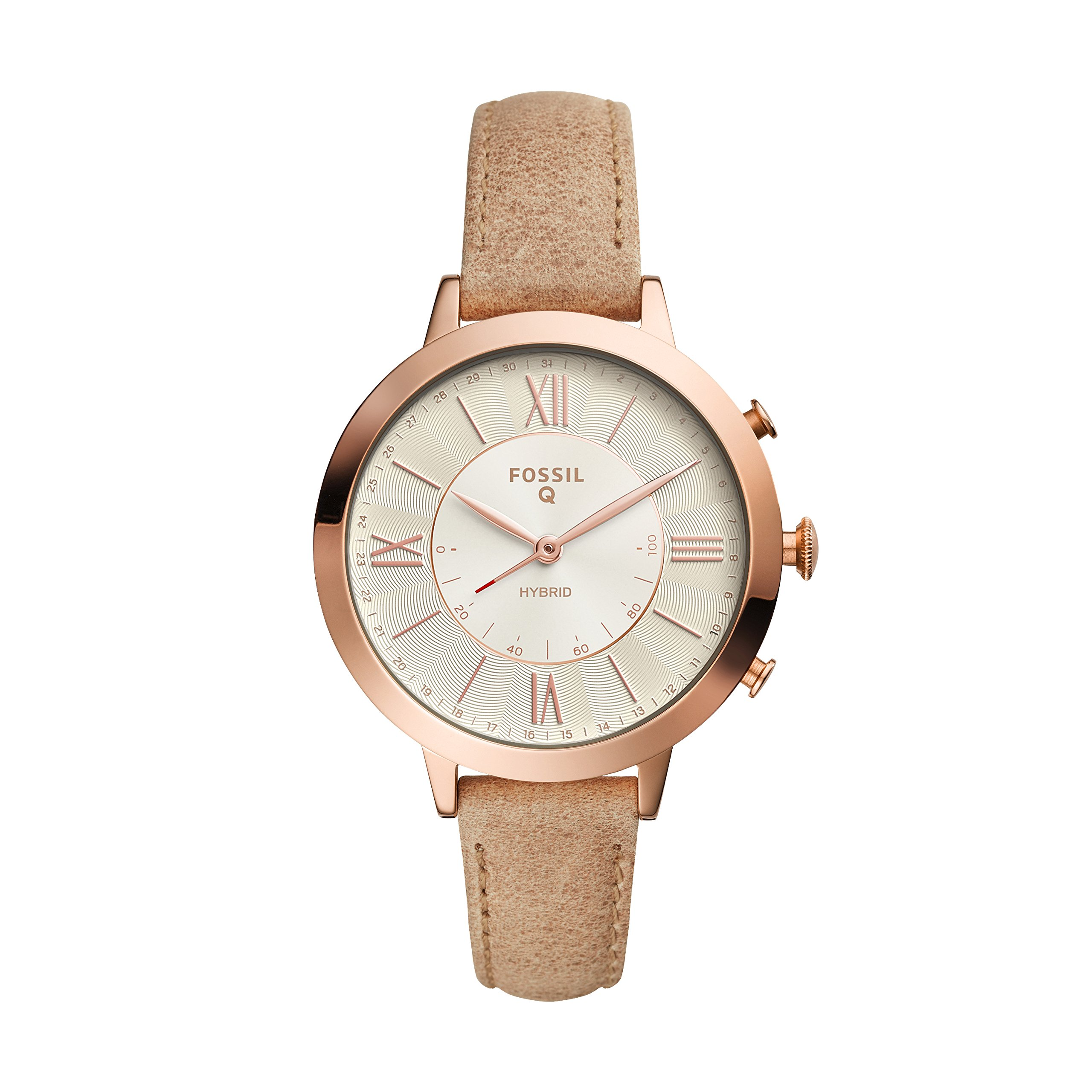 Fossil Q Women's Jacqueline Stainless Steel and Leather Hybrid Smartwatch, Color: Rose Gold-Tone, Beige (Model: FTW5013) by Fossil