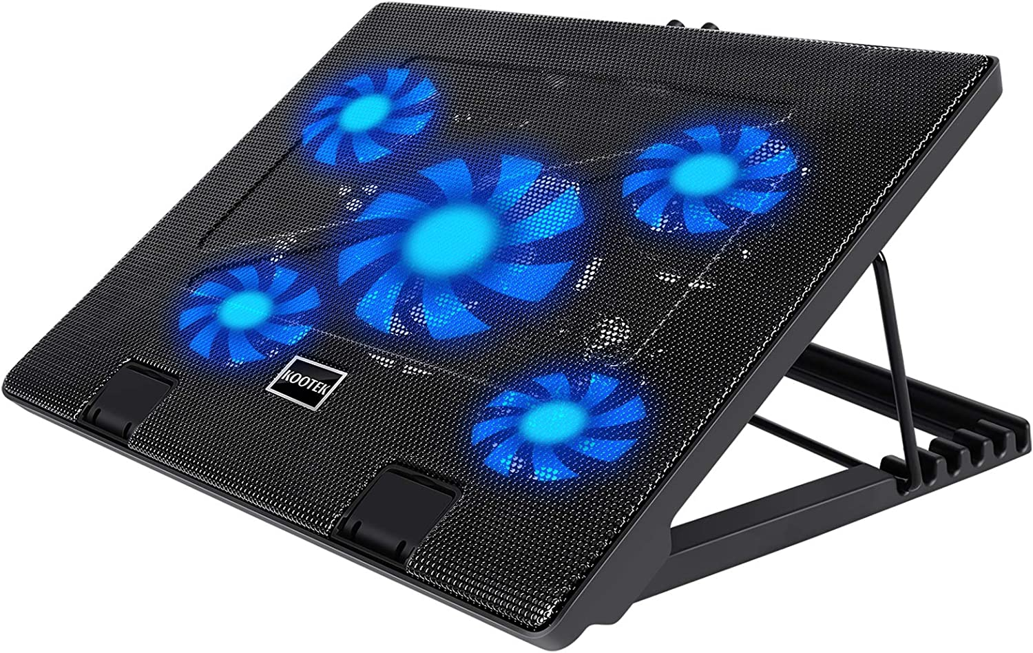 """Kootek Laptop Cooling Pad 12""""-17"""" Cooler Pad Chill Mat 5 Quiet Fans LED Lights and 2 USB 2.0 Ports Adjustable Mounts Laptop Stand Height Angle, Blue"""