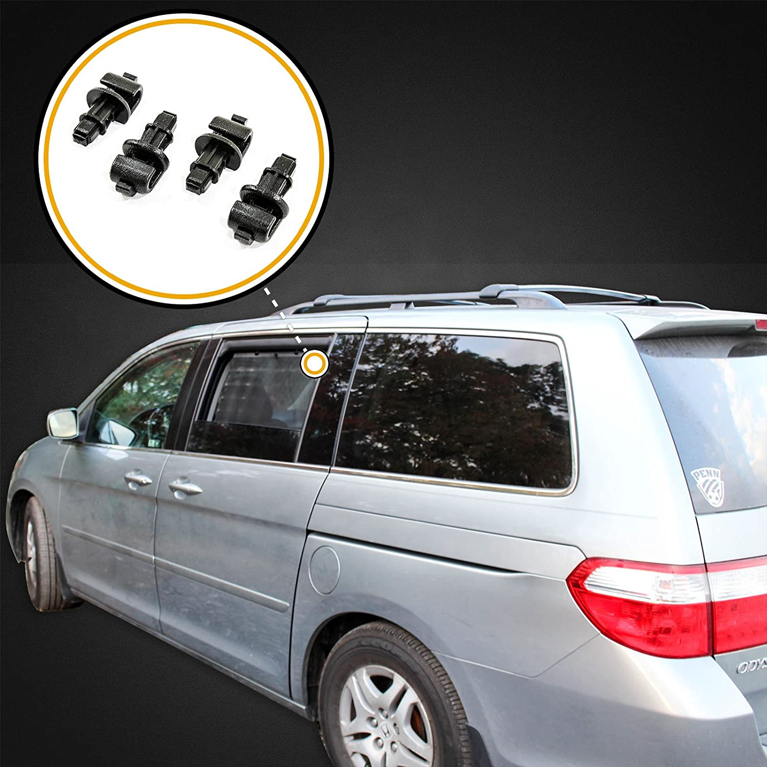 Red Hound Auto 2005-2010 Compatible with Honda Odyssey Black 4 Sun Shade Hook Sliding Door Clip Kit