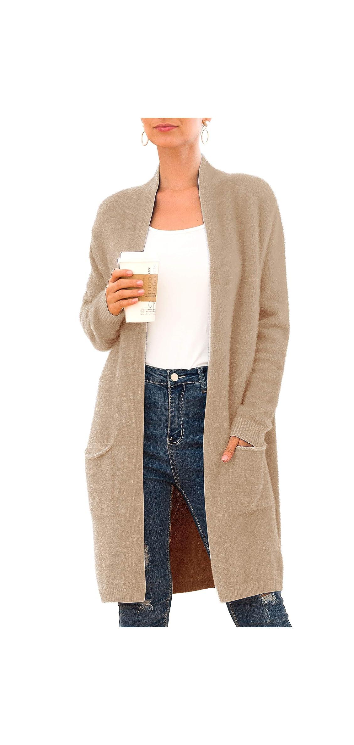 Women's Casual Open Front Knit Cardigans Long Sleeve Coat