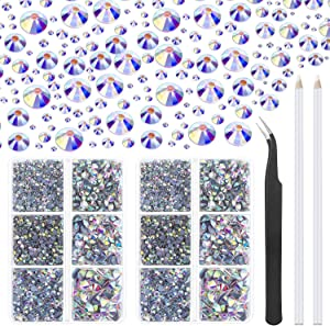 Hotfix Rhinestones, Cridoz 6040Pcs Hot Fix Rhinestones Crystal AB Stud with Tweezers and Rhinestone Picker Tool Pens for Bedazzler Crafts on Fabric, Clothes, Shoes and Jeans