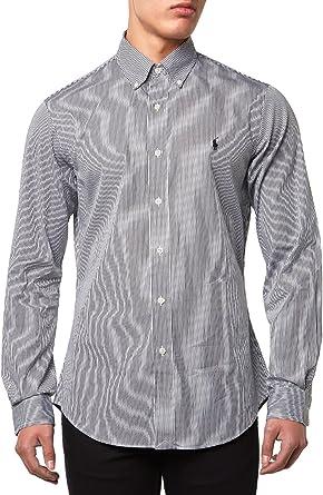 Polo Ralph Lauren Ls Slim Fit Bd Ppc Spt-Camisa Hombre negro y blanco S: Amazon.es: Ropa y accesorios