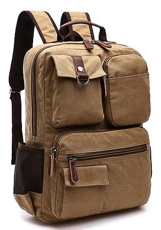 e713dc712 Amazon.com: Canvas Backpack, Aidonger Vintage Canvas School Backpack Hiking  Travel Rucksack Fits 14'' Laptop (Khaki-48): Aidonger Direct