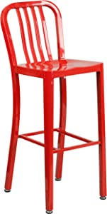 "Flash Furniture Commercial Grade 30"" High Red Metal Indoor-Outdoor Barstool with Vertical Slat Back"