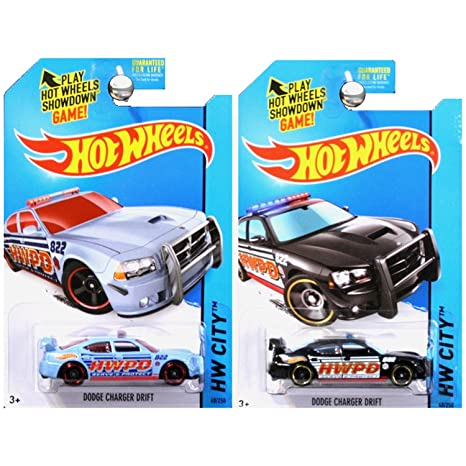 Hot Wheels City Dodge Charger Drift Police HWPD In Blue And Black White SET  OF 2