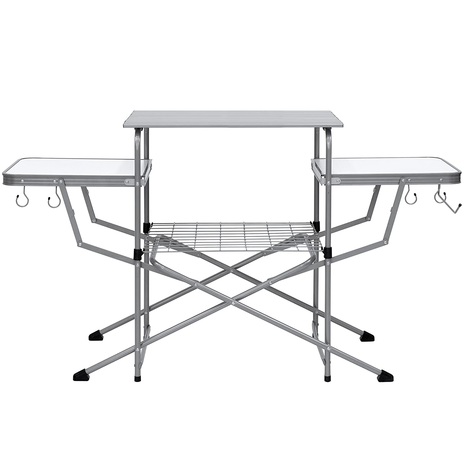 Best Choice Products Portable Outdoor Deluxe Folding Camping Grilling Table w Carrying Case – Silver