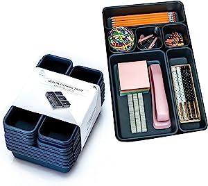 Xpressive Collections Desk Drawer Organizer Trays for Home Office Makeup Bathroom Kitchen | Multi-Purpose Adjustable Interlocking Bins for Organization | Set of 16 | Black