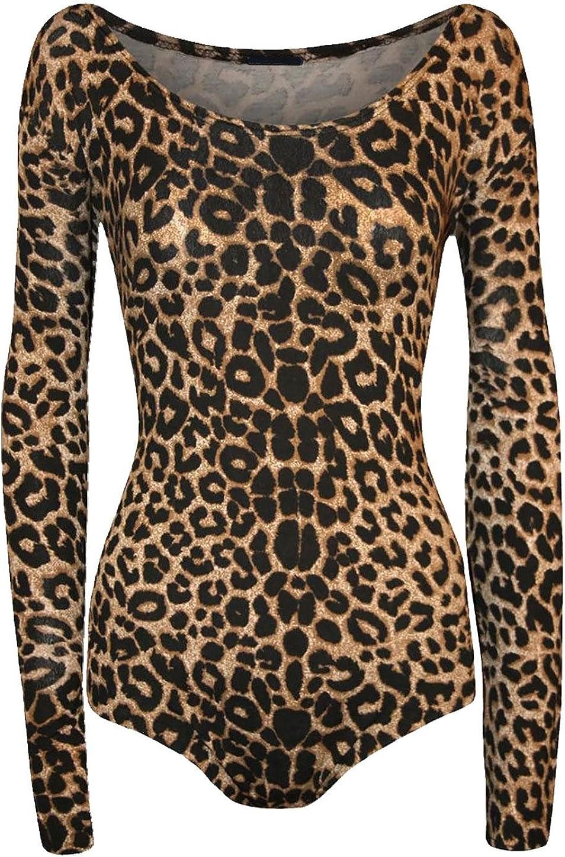M//L Islander Fashions Frauen Animal Print Langarm Scoop Neck Bodysuit Damen Stretchy Trikot Top S//M