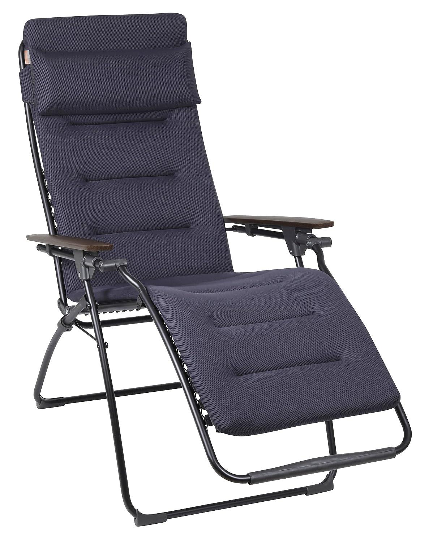 Lafuma gepolsterter Relax-Liegestuhl, klappbar und verstellbar, Futura Air Comfort, Acier (Schwarz), LFM2413-6135