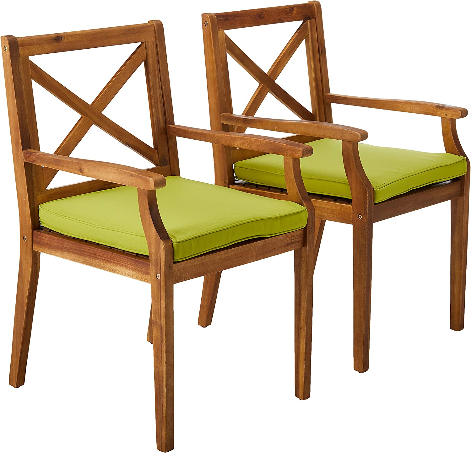 Christopher Knight Home 304683 Peter | Outdoor Acacia Wood Dining Chair with Cushion | Set of 2 | Teak/Green