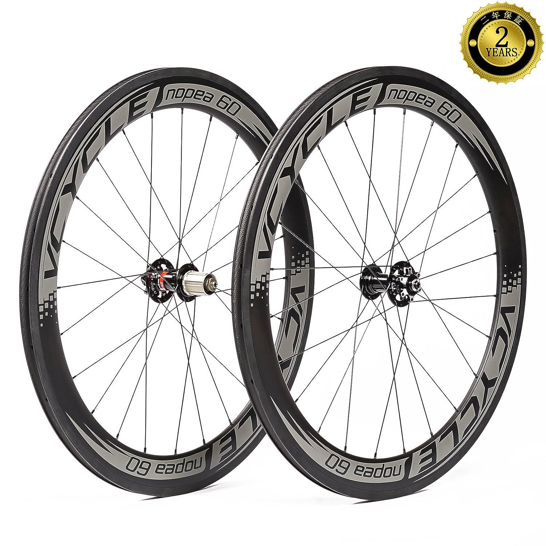 VCYCLE Nopea 700Cカーボンレーシングロード自転車ホイールクリンチャー60mm フィットクイックリリースまたはアクスルスルー UDマット B071F4TTXP