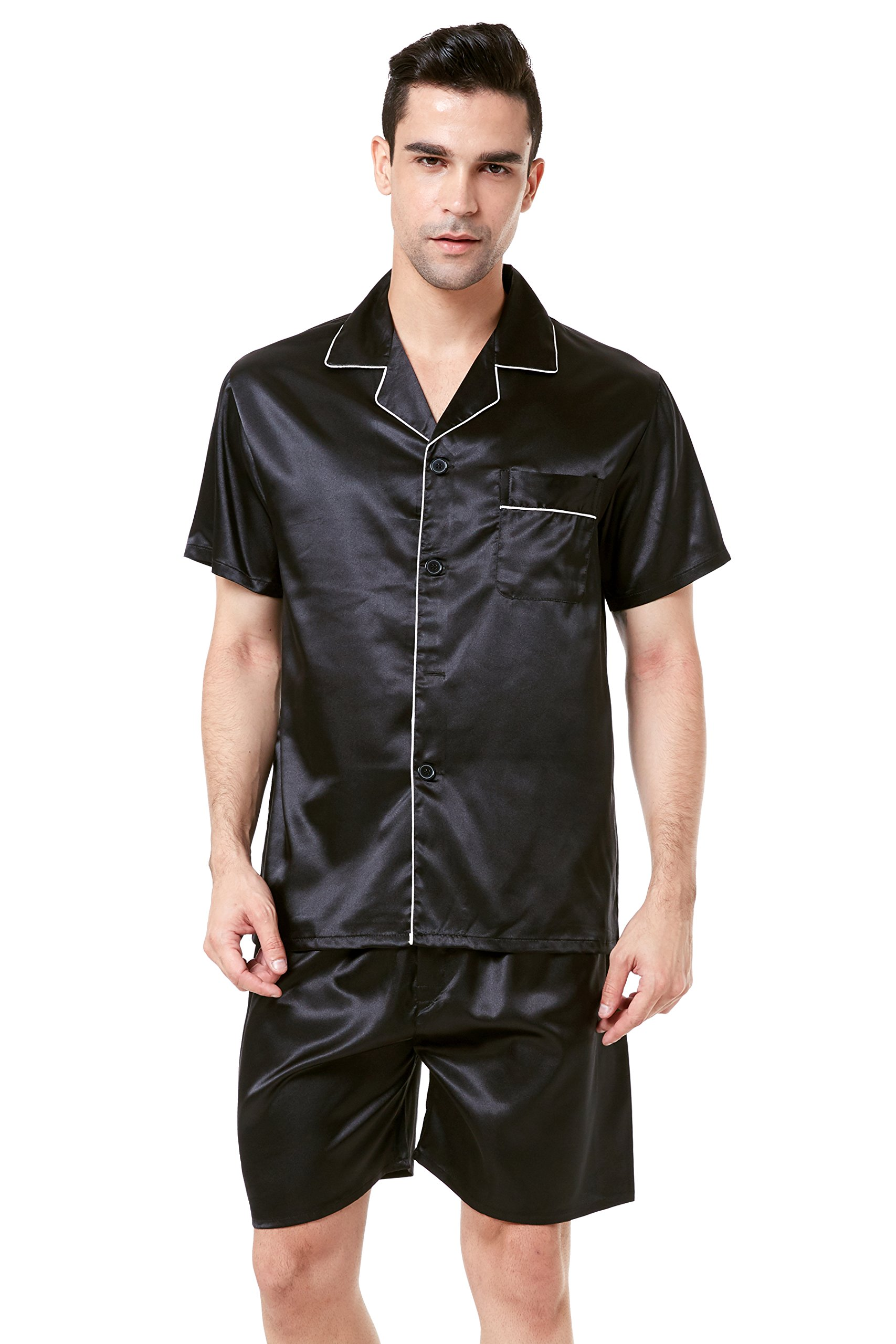 TONY AND CANDICE Men's Short Sleeve Satin Pajama Set with Shorts (Large, Black with White Piping) by TONY AND CANDICE