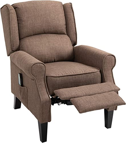 HOMCOM Wingback Heated Vibrating Accent Sofa Vintage Linen Fabric Massage Recliner Chair Push-Back