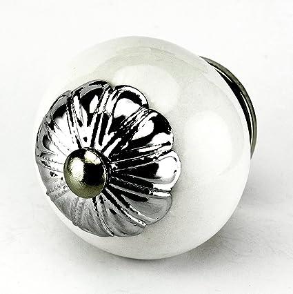 White Ceramic Cabinet Knobs, Drawer Pulls U0026 Handles Set/4pc ~ C53FF Kitchen  Drawer