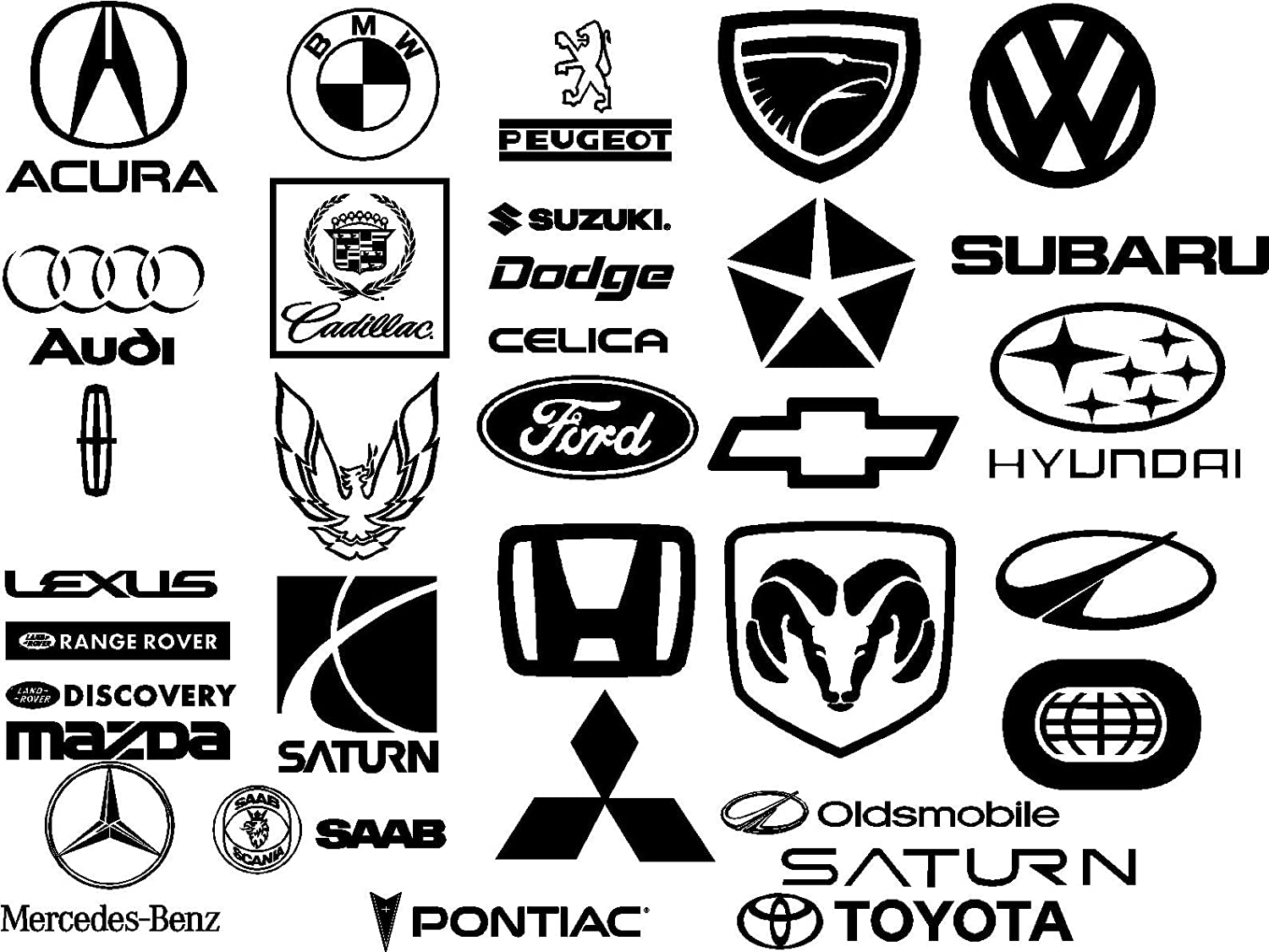 12 x 12 cm All Cars Logo Badge Sticker for home wall Decor Car Removable Stickers