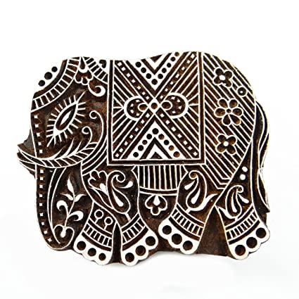 08aeeead0358 Amazon.com  Brown Hand carved Printing Block Wooden Textile Stamp ...