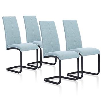SuenosZzz - Pack sillas (x4) Ceres Color Verde Agua, para Comedor o Salon| Tapizado en Tela | Sillas de Patas metalicas Color Negro | Conjunto de ...