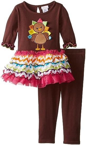 06c8e1e9d1e98 Youngland Little Girls' Turkey Applique Legging Set