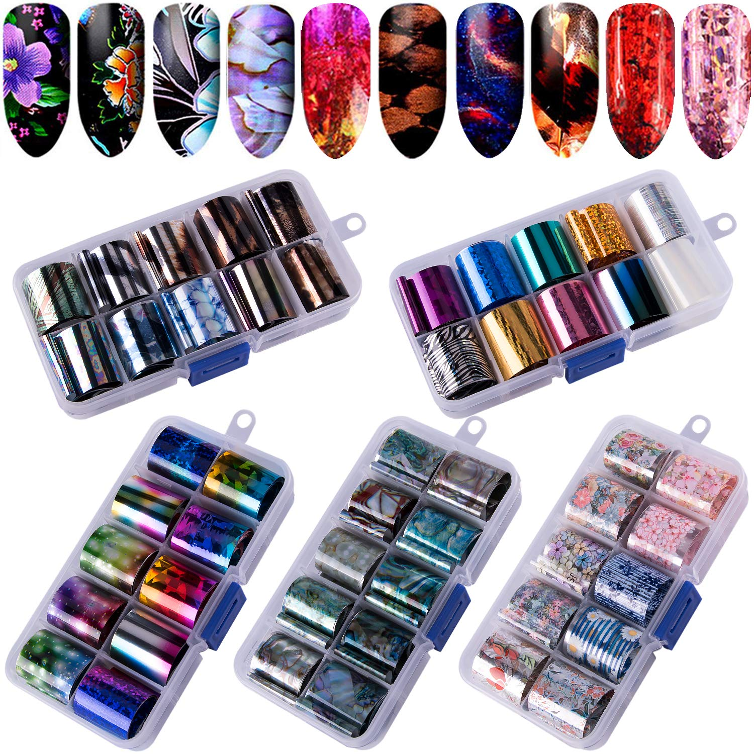 Duufin 50 Colors Nail Foil Transfer Sticker Starry Sky Foil Nail Art Stickers Nail Foil Wraps Nail Adhesive Foil Transfer Glitters Acrylic DIY Decoration Kit by Duufin