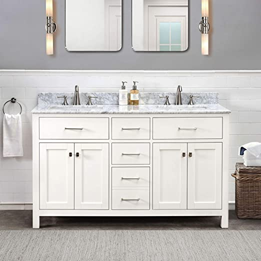 Amazon Com Sj Collection Olson 60 In Shaker Style Double Sink Bathroom Vanity White Home Kitchen