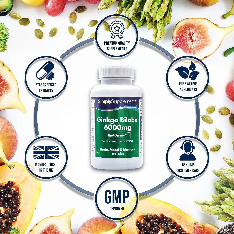 Ginkgo Biloba 6000mg - 360 comprimidos - Hasta 1 año de suministro - Favorece una correcta circulación y salud del corazón - SimplySupplements: Amazon.es: ...