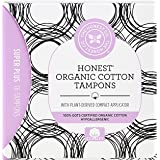 The Honest Company Organic Cotton Tampons with Plant-Based Compact Applicator, Super Plus, 16Count
