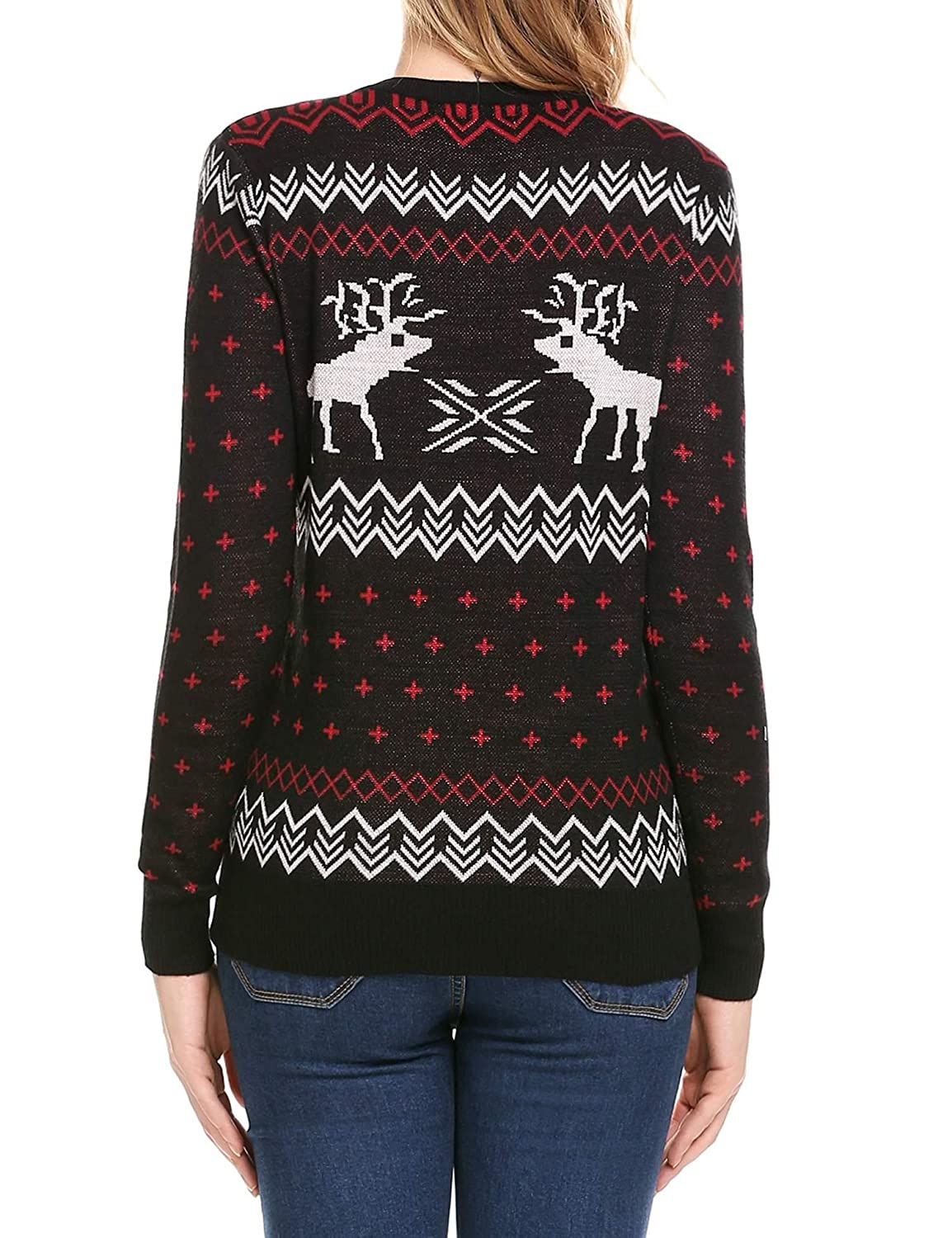 24d1a09bf61b SoTeer Womens Christmas Sweater Reindeer Snowflakes Long Sleeve Round Neck  Cute Knit Pullover Sweaters at Amazon Women's Clothing store: