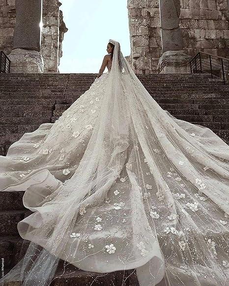 Vestido de novia romántica árabe novia de la boda con cuentas ...