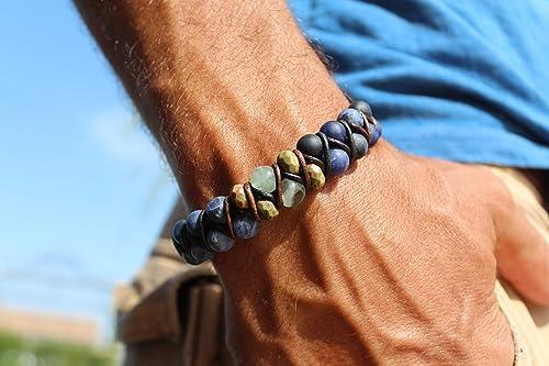 bracelet homme unakite
