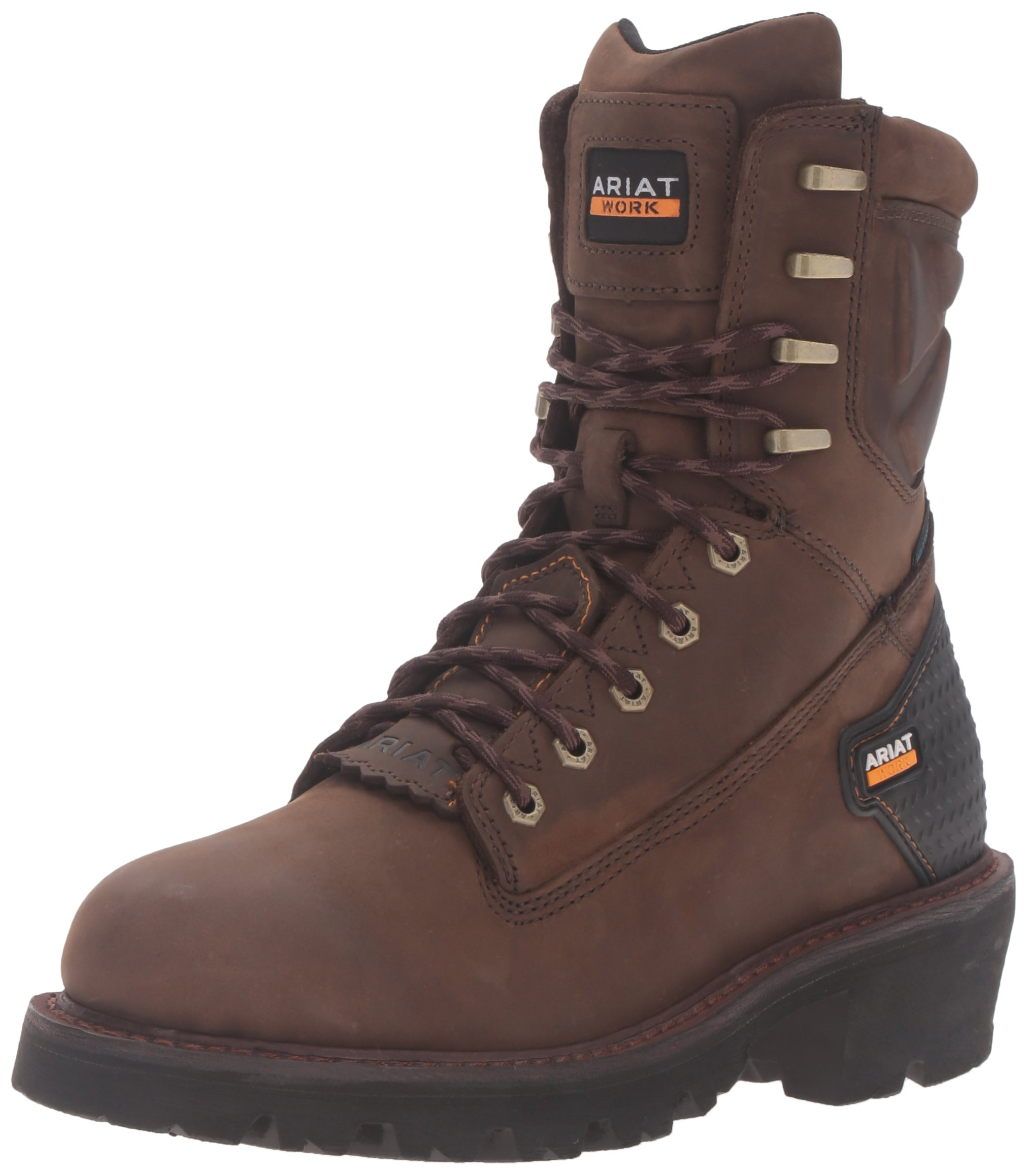 Ariat Men's Powerline 8'' H2O Work Boot, Oily Distressed Brown, 14 D US by ARIAT