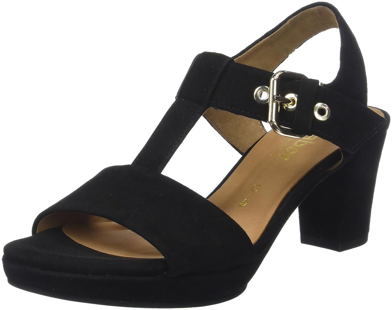 Gabor schuhe Comfort Fashion, Sandalia con Pulsera para damen schwarz (Schwarz Sc.Gold)