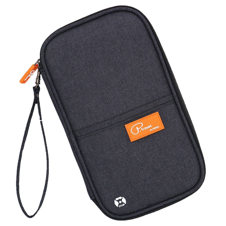 Ausweistasche Damen Reisepass Tasche Herren Reisebrieftasche Wasserdicht Familie Reisedokumententasche Reiseorganizer mit RFID Schutz Reißverschluss Fächern Handschlaufe für Reiseunterlagen(Grau) Fashion